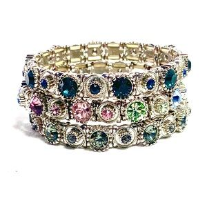 Set of 3 Jeweled Bracelets
